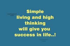 Essay on simple life high thinking